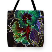 Two Hibiscus Glowing Edges Abstract Tote Bag