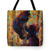 Two High - Black Bear Cubs Tote Bag by Marion Rose