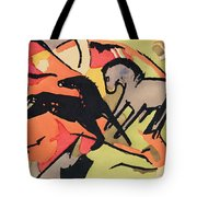 Two Horses Tote Bag by Franz Marc