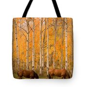 Two Horses Grazing In The Autumn Air Tote Bag