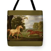 Two Horses In A Landscape Tote Bag