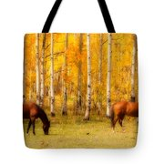 Two Horses In The Colorado Fall Foliage Tote Bag
