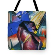 Two Horses Red And Blue 1912 Tote Bag