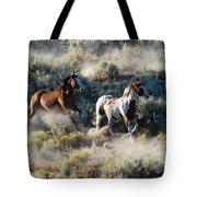 Two Horses Running Tote Bag
