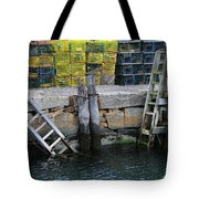 Two Ladders At High Tide Tote Bag