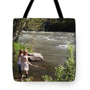 Two Little Girls Playing By The River Tote Bag