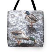 Two Mallard Ducks Standing In Water Tote Bag