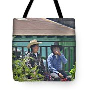 Two Men Talking Tote Bag