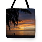 Two Men Walking On Sunset Tote Bag