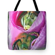 Two Metallic Green Bees Rolled Up In A Pink Flowers Petals Tote Bag