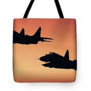 Two Migs At Sunset Tote Bag