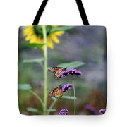 Two Monarch Butterflies And Sunflower 2011 Tote Bag