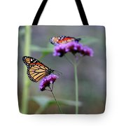 Two Monarchs On Verbena Tote Bag