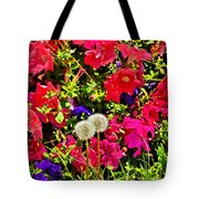 Two Of Dandelion. Floral Carpet. Tote Bag