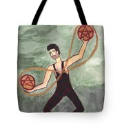 Two Of Pentacles Illustrated Tote Bag