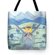 Two Of Swords Illustrated Tote Bag