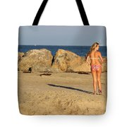 Two Oil Platforms On Horizon Tote Bag