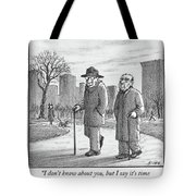 Two Older Men Walk With Canes Through A Park. Tote Bag