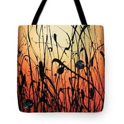Two Orbs Meet In A Field At Sunset Tote Bag