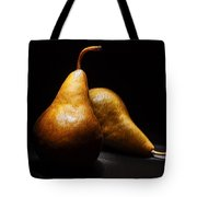 Two Pears Light Painted On Black Background Tote Bag