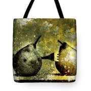 Two Pears Pierced By A Fork. Tote Bag