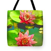 Two Pink Blooming Water Lilies  Tote Bag