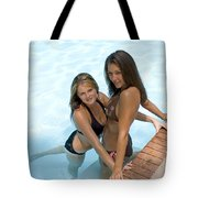 Two Pretty Women In A Pool. Tote Bag