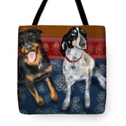 Two Pups On A Persian Carpet Tote Bag
