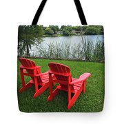 Two Red Chairs Overlooking Lake Formosa Tote Bag
