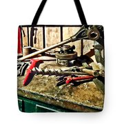 Two Red Wrenches On Plumber's Workbench Tote Bag