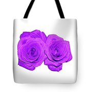 Two Roses Violet Purple And Enameled Effects Tote Bag