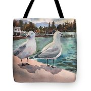 Two Seagulls By The Sea Tote Bag