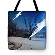 Two Seagulls Fly Together In The Clear Blue Sky Tote Bag by Fernando Cruz