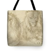 Two Seated Lions Tote Bag