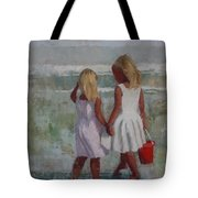 Two Sisters And Red Bucket Tote Bag