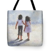 Two Sisters Walking Beach Tote Bag
