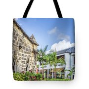 Two Solitudes, Holetown Church And Limegrove Mall, Barbados Tote Bag