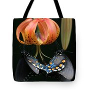 Two Spicebush Swallowtail Butterflies On A Turks Cap Lily Tote Bag