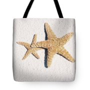 Two Starfish On The White Sand Tote Bag