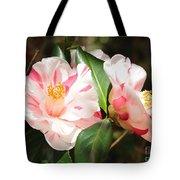 Two Striped Camellias Tote Bag