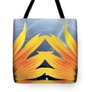 Two Sunflower Lightning Storm Tote Bag