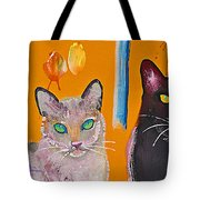 Two Superior Cats With Wild Wallpaper Tote Bag