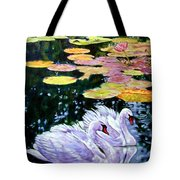 Two Swans In The Lilies Tote Bag