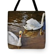 Two Swans On Spring Water Tote Bag