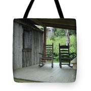Two Tranquil Rocking Chairs In The Mountains Tote Bag