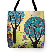 Two Trees Two Birds Landscape Tote Bag