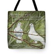 Two White Doves Philippians Tote Bag