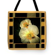 Two Honey Bees Two White Flowers Matted Tote Bag