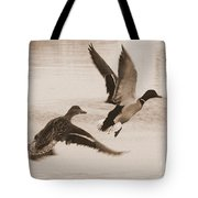 Two Winter Ducks In Flight Tote Bag