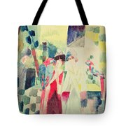 Two Women And A Man With Parrots Tote Bag